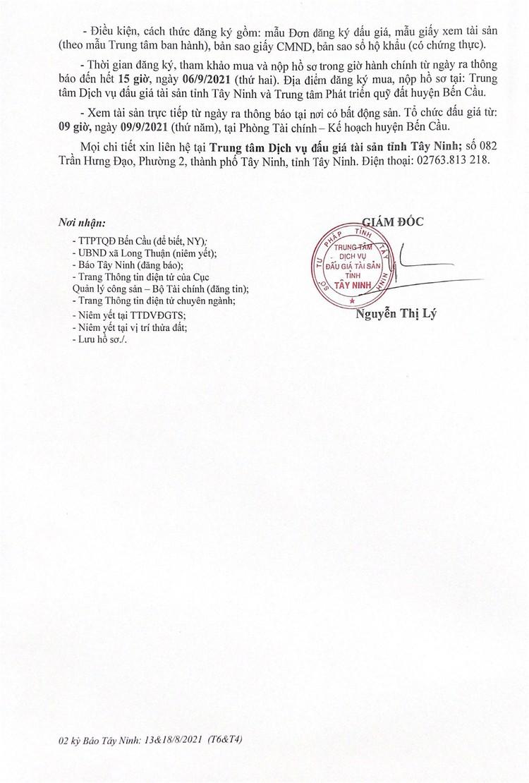 Ngày 9/9/2021, đấu giá quyền sử dụng 1.001,24m2 đất tại huyện Bến Cầu, tỉnh Tây Ninh ảnh 3