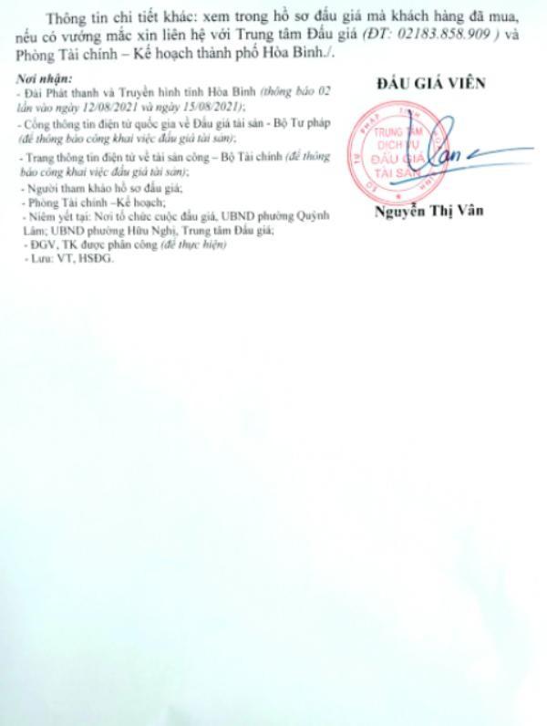 Ngày 31/8/2021, đấu giá quyền sử dụng đất tại thành phố Hòa bình, tỉnh Hòa Bình ảnh 6