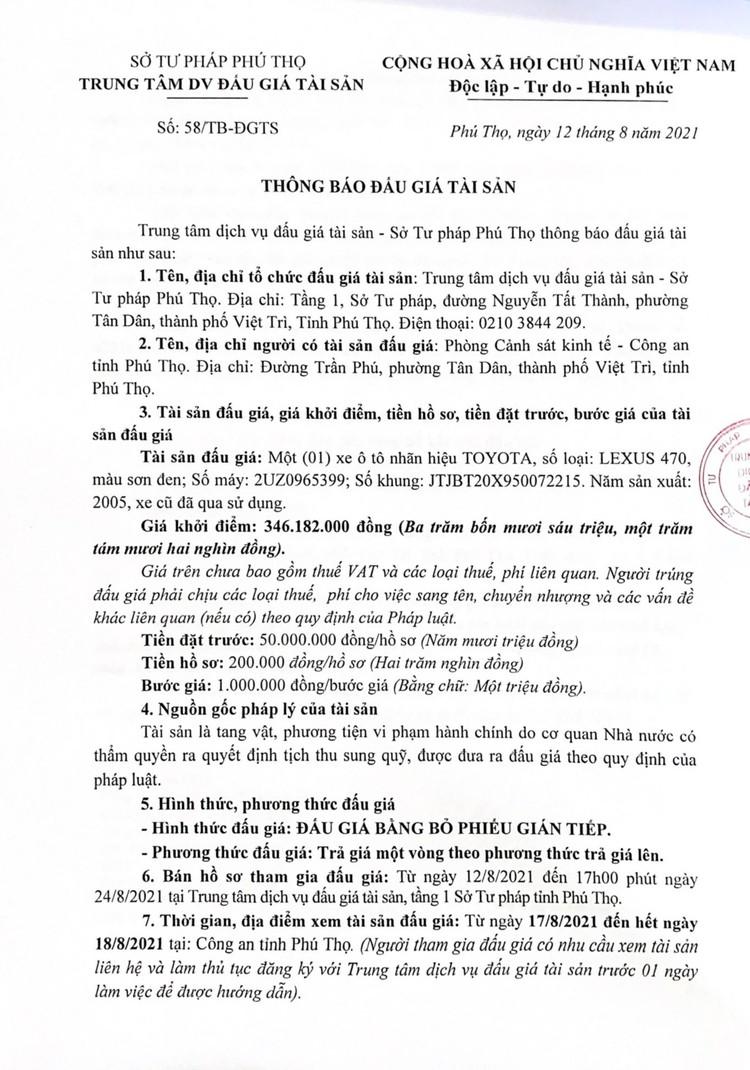 Ngày 27/8/2021, đấu giá xe ô tô Lexus 470 tại tỉnh Phú Thọ ảnh 2