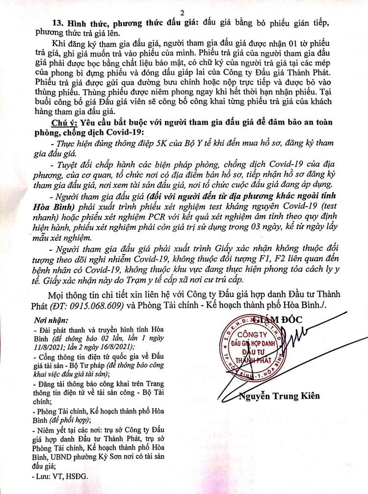 Ngày 1/9/2021, đấu giá quyền sử dụng 265,4 m2 đất tại thành phố Hòa Bình, tỉnh Hòa Bình ảnh 3