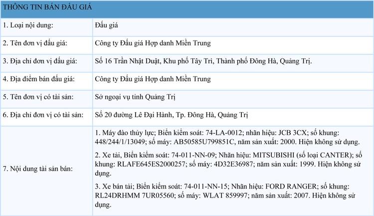 Ngày 31/8/2021, đấu giá ô tô, xe máy và máy móc thi công tại tỉnh Quảng Trị ảnh 1