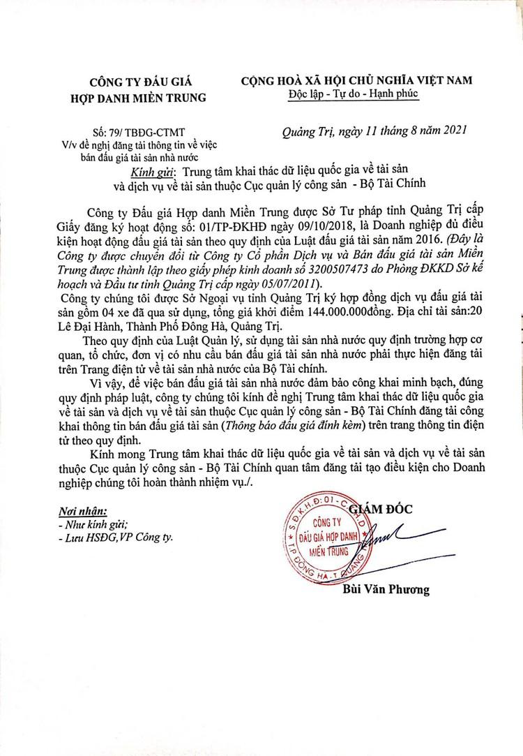 Ngày 31/8/2021, đấu giá ô tô, xe máy và máy móc thi công tại tỉnh Quảng Trị ảnh 3