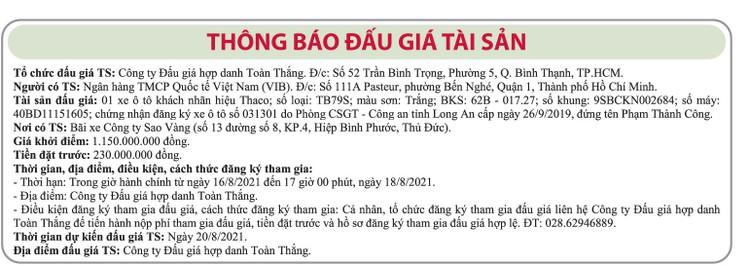 Ngày 20/8/2021, đấu giá xe ô tô Thaco tại TP.HCM ảnh 1