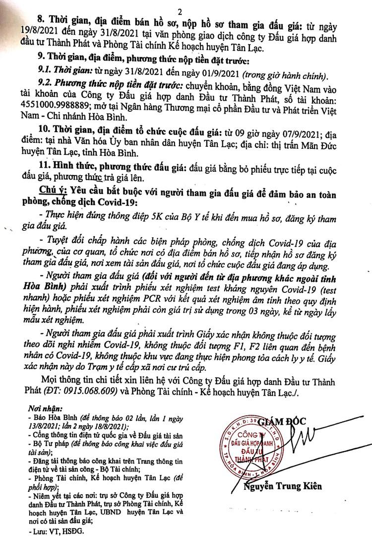 Ngày 7/9/2021, đấu giá quyền sử dụng 1.136,2m2 đất tại huyện Tân Lạc, tỉnh Hòa Bình ảnh 3
