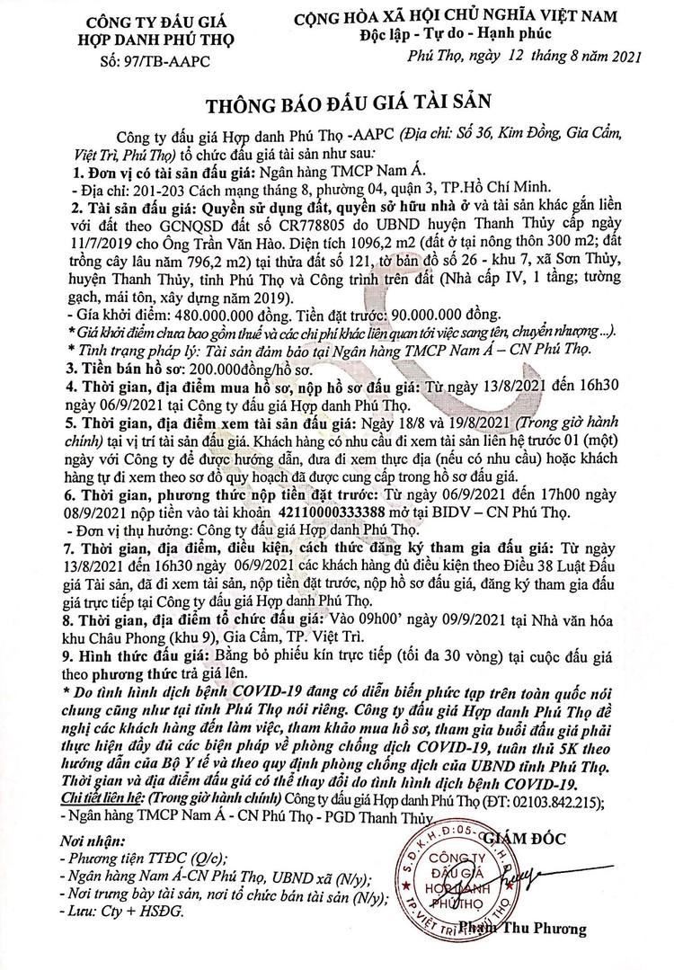 Ngày 9/9/2021, đấu giá quyền sử dụng 1.096,2 m2 đất tại huyện Thanh Thủy, tỉnh Phú Thọ ảnh 2