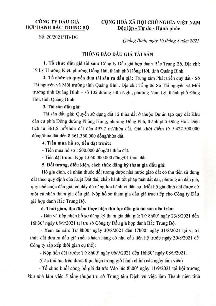 Ngày 11/9/2021, đấu giá quyền sử dụng 12 thửa đất tại thành phố Đồng Hới, tỉnh Quảng Bình ảnh 2