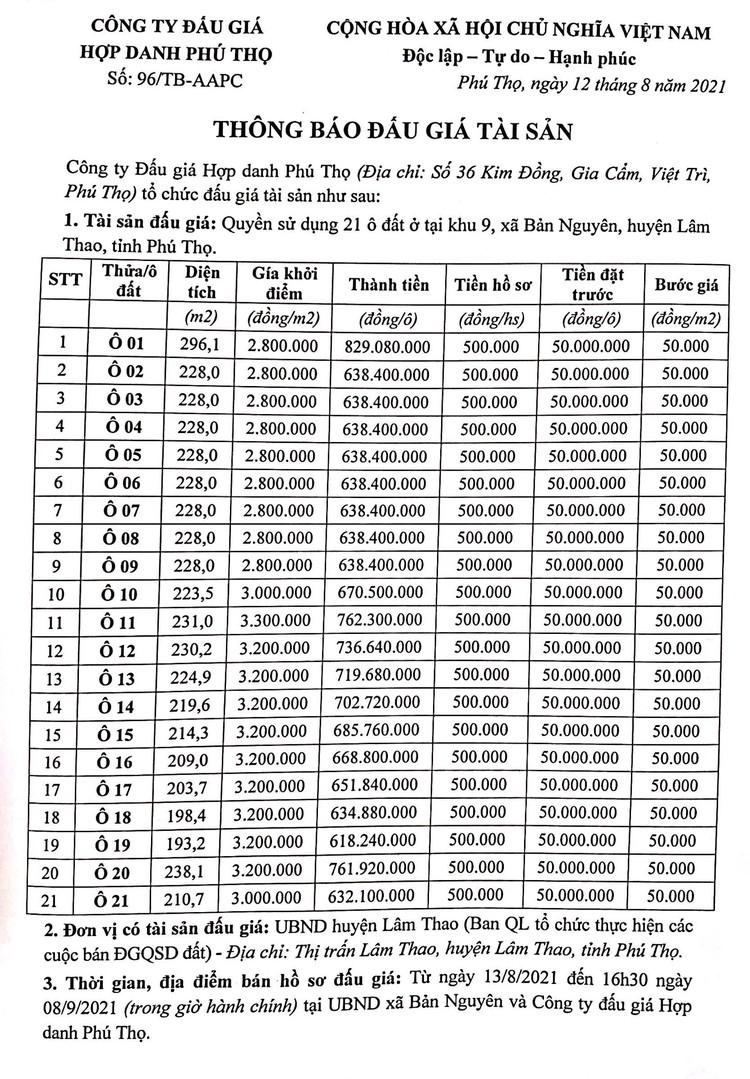 Ngày 11/9/2021, đấu giá quyền sử dụng 21 ô đất tại huyện Lâm Thao, tỉnh Phú Thọ ảnh 2