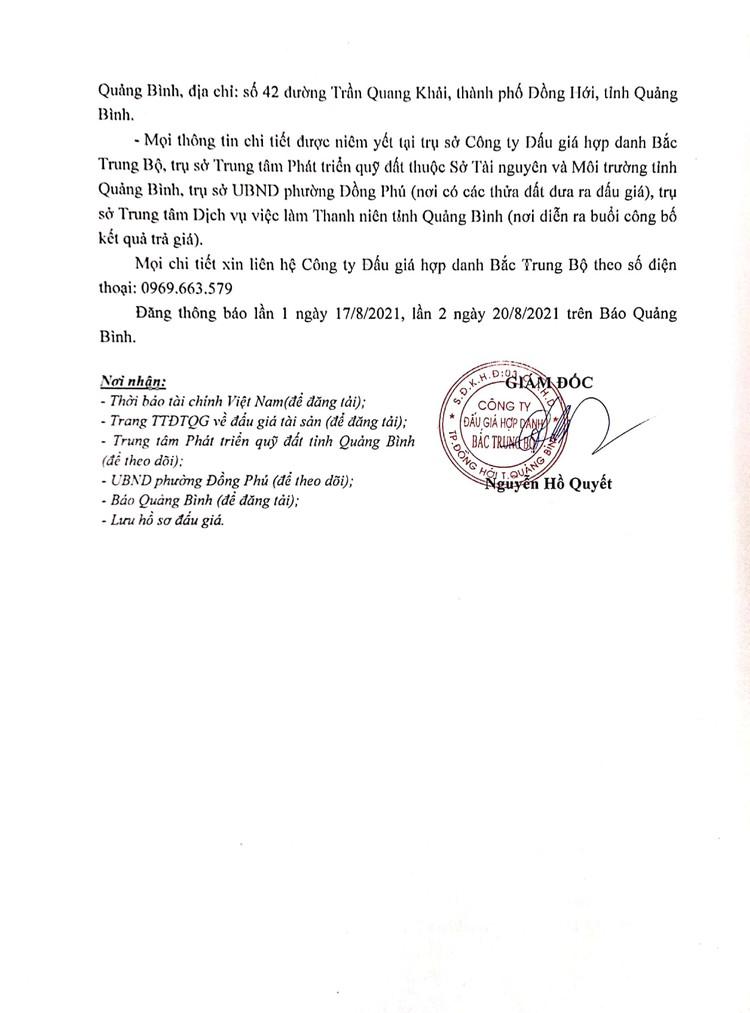 Ngày 11/9/2021, đấu giá quyền sử dụng 12 thửa đất tại thành phố Đồng Hới, tỉnh Quảng Bình ảnh 3
