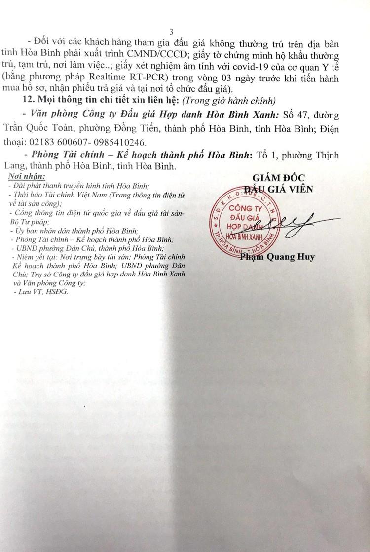 Ngày 1/9/2021, đấu giá quyền sử dụng 125m2 đất tại thành phố Hòa Bình, tỉnh Hòa Bình ảnh 4