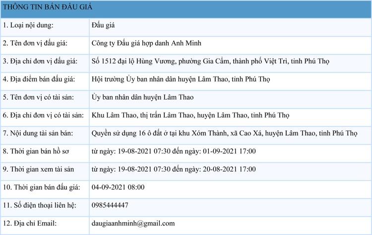 Ngày 4/9/2021, đấu giá quyền sử dụng 16 ô đất tại huyện Lâm Thao, tỉnh Phú Thọ ảnh 1