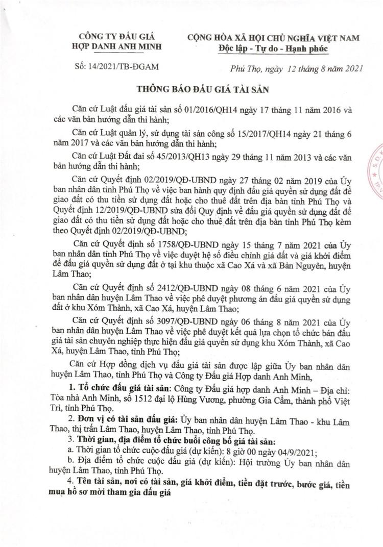 Ngày 4/9/2021, đấu giá quyền sử dụng 16 ô đất tại huyện Lâm Thao, tỉnh Phú Thọ ảnh 2