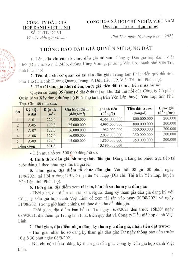 Ngày 11/9/2021, đấu giá quyền sử dụng 05 lô đất tại huyện Yên Lập, tỉnh Phú Thọ ảnh 2