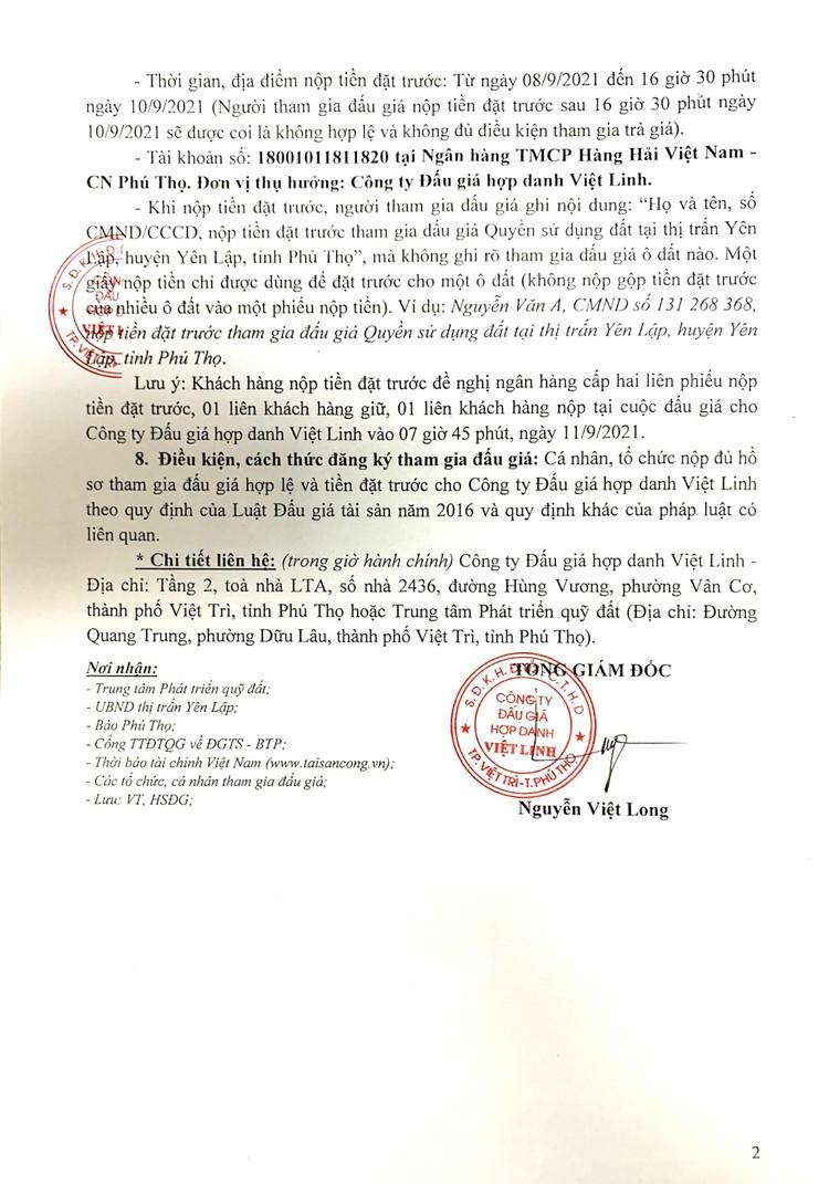 Ngày 11/9/2021, đấu giá quyền sử dụng 05 lô đất tại huyện Yên Lập, tỉnh Phú Thọ ảnh 3