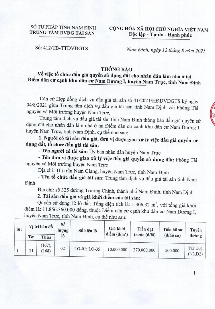 Ngày 11/9/2021, đấu giá quyền sử dụng 12 lô đất tại huyện Nam Trực, tỉnh Nam Định ảnh 2