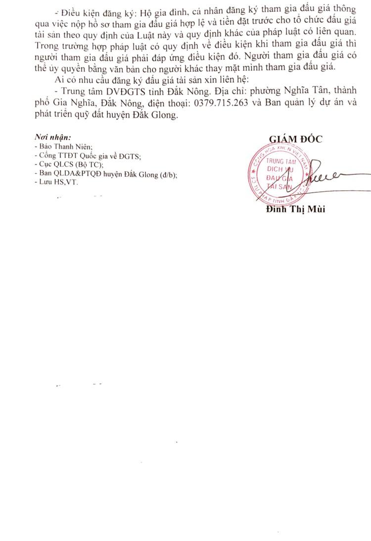 Ngày 10/9/2021, đấu giá quyền sử dụng 154 thửa đất tại huyện Đắk Glong, tỉnh Đắk Nông ảnh 4