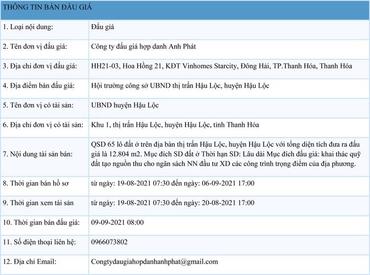 Ngày 9/9/2021, đấu giá quyền sử dụng 65 lô đất tại huyện Hậu Lộc, tỉnh Thanh Hóa ảnh 1