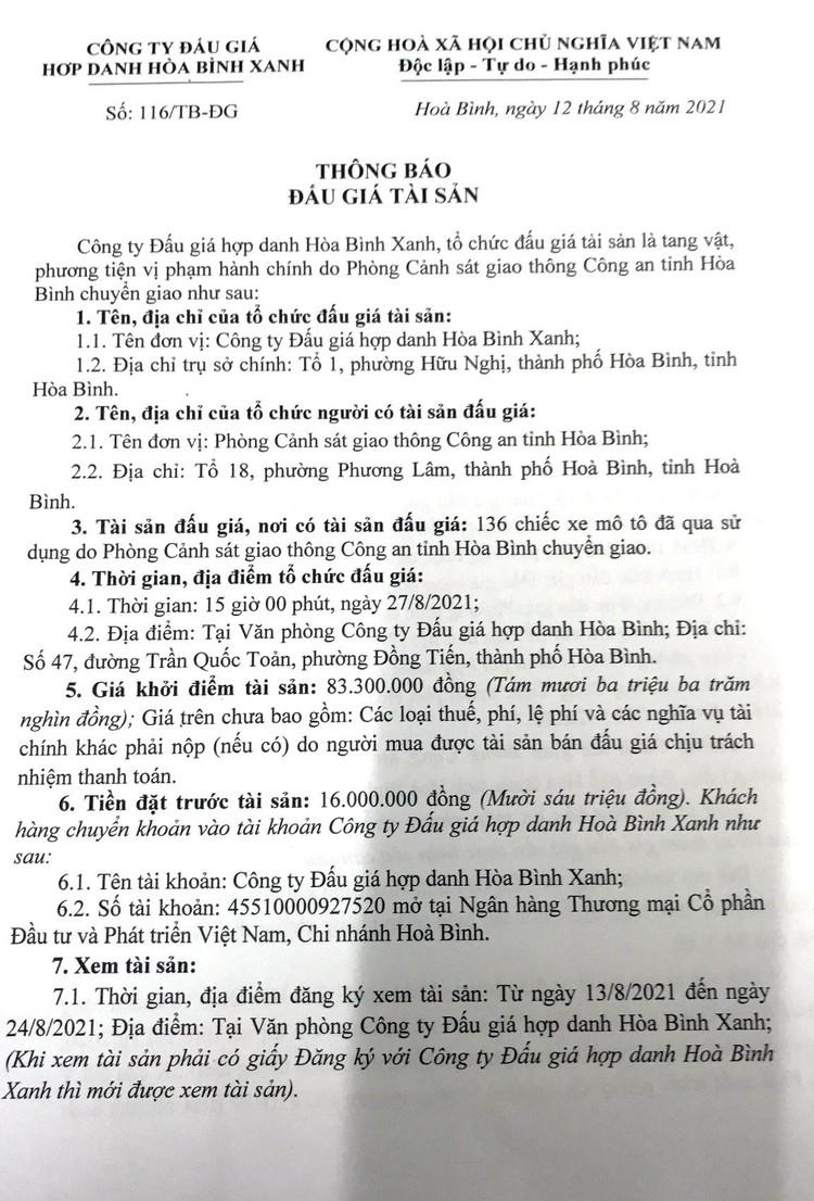 Ngày 27/8/2021, đấu giá 136 xe mô tô tại tỉnh Hòa Bình ảnh 2