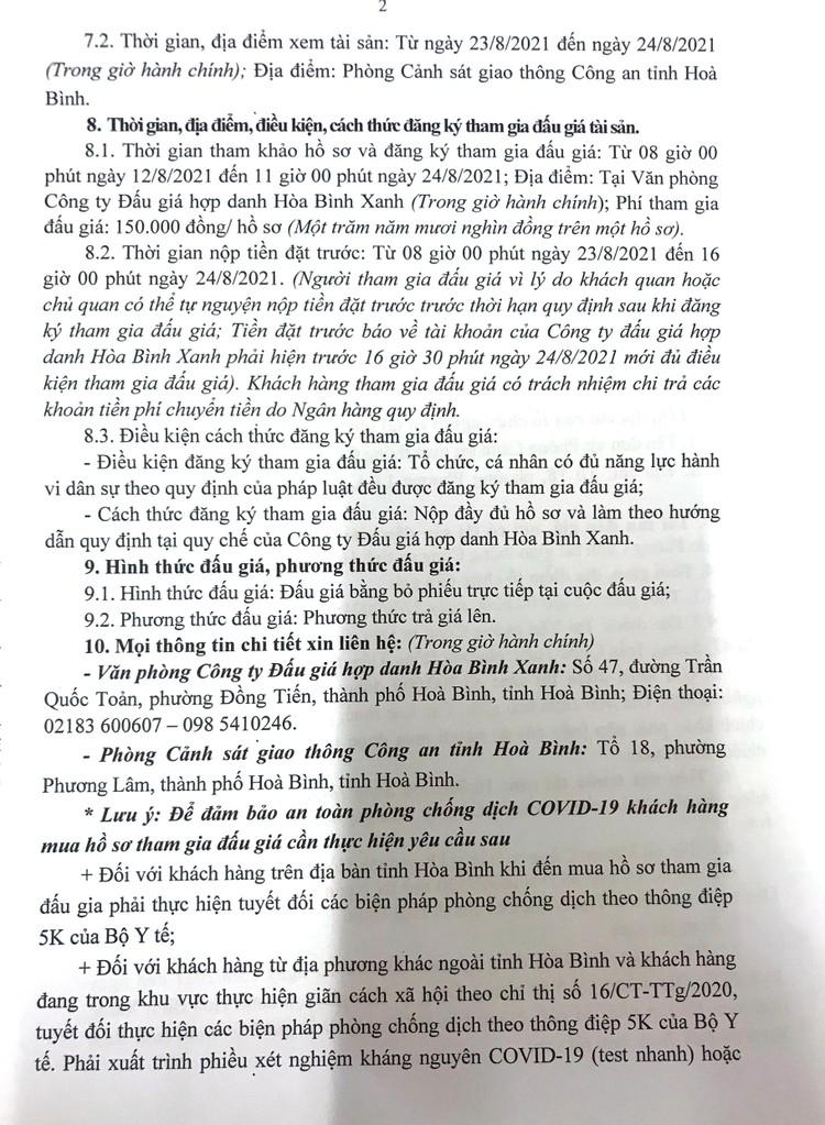 Ngày 27/8/2021, đấu giá 136 xe mô tô tại tỉnh Hòa Bình ảnh 3