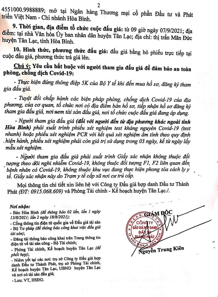 Ngày 7/9/2021, đấu giá quyền sử dụng 304 m2 đất tại huyện Tân Lạc, tỉnh Hòa Bình ảnh 3