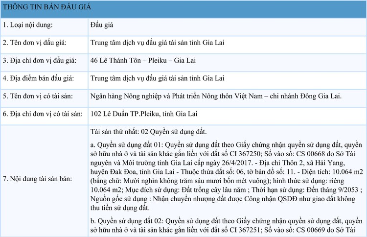 Ngày 3/9/2021, đấu giá quyền sử dụng đất tại huyện Đak Đoa, tỉnh Gia Lai ảnh 1