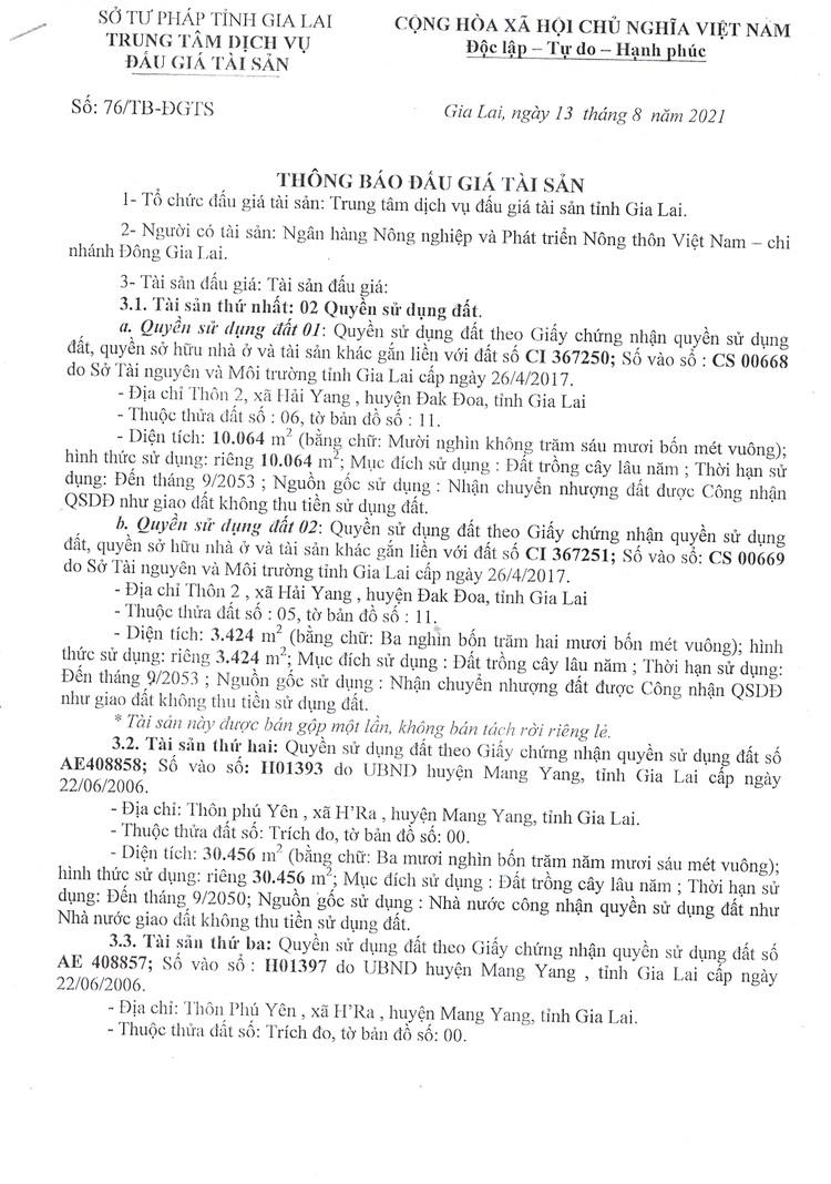 Ngày 3/9/2021, đấu giá quyền sử dụng đất tại huyện Đak Đoa, tỉnh Gia Lai ảnh 4