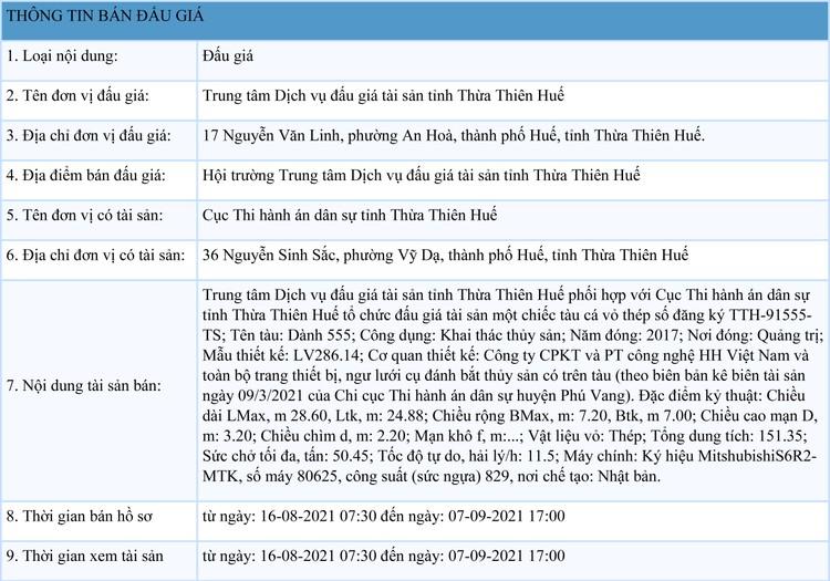 Ngày 10/9/2021, đấu giá 1 chiếc tàu cá vỏ thép tại tỉnh Thừa Thiên Huế ảnh 1
