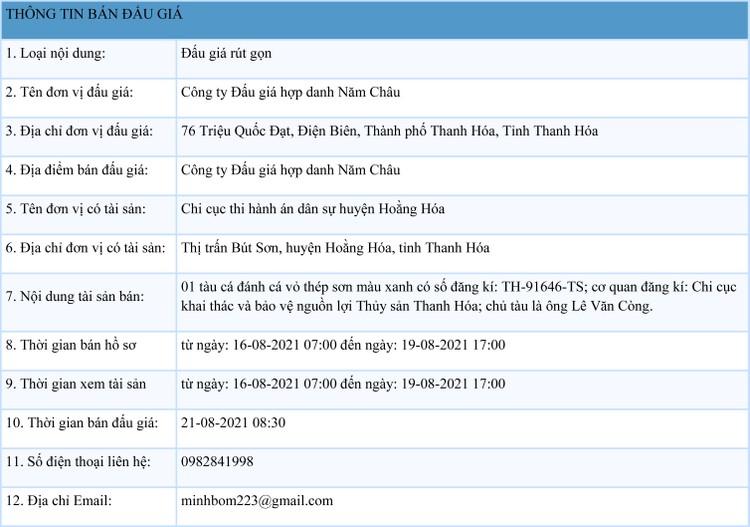 Ngày 21/8/2021, đấu giá 01 tàu cá đánh cá vỏ thép tại tỉnh Thanh Hóa ảnh 1