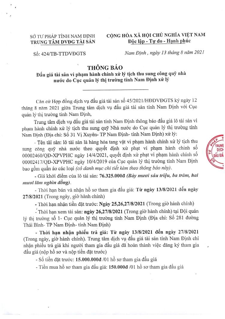Ngày 30/8/2021, đấu giá hàng hoá tang vật vi phạm hành chính tại tỉnh Nam Định ảnh 2
