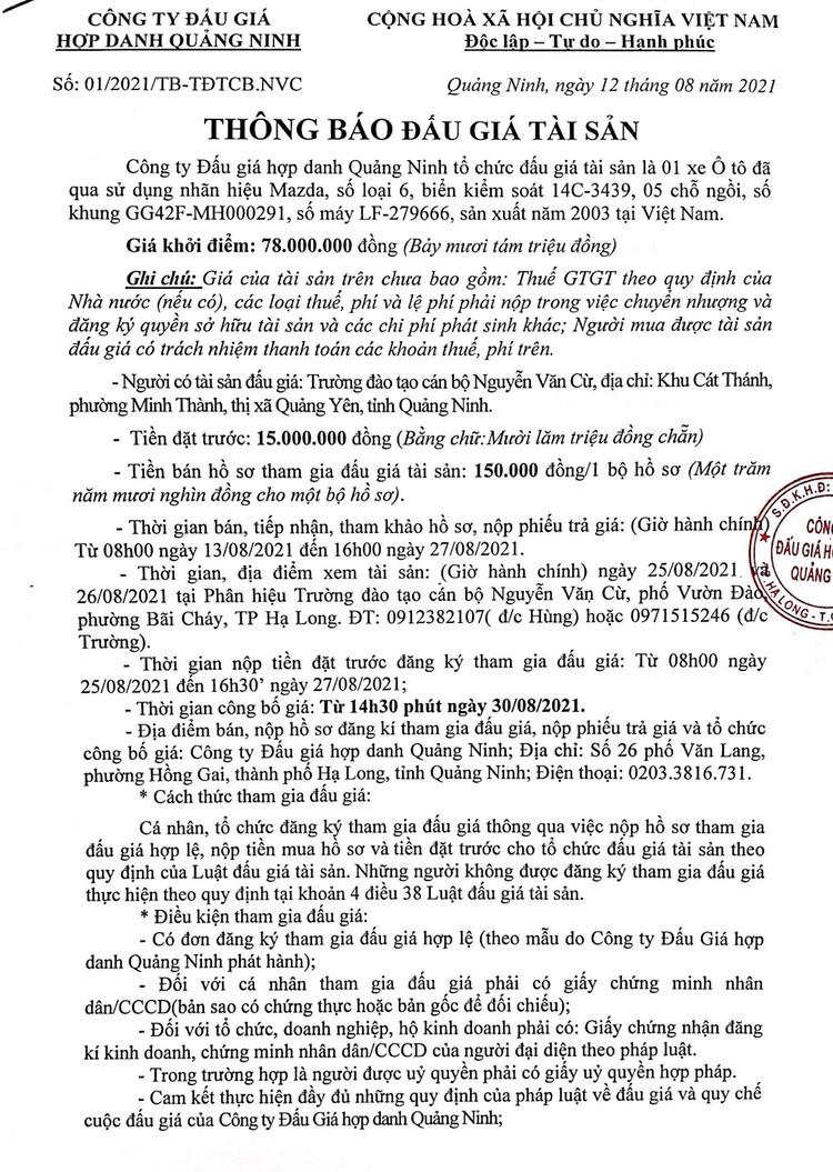 Ngày 30/8/2021, đấu giá xe ô tô Mazda tại, tỉnh Quảng Ninh ảnh 2