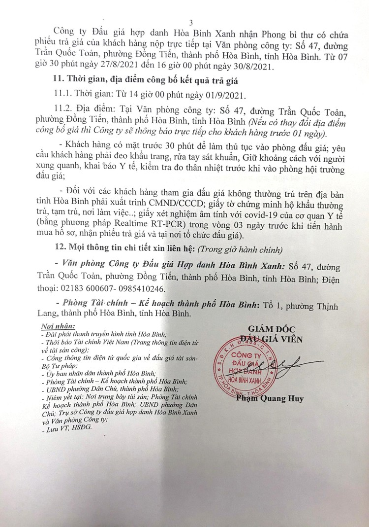 Ngày 1/9/2021, đấu giá quyền sử dụng 391,6 m2 đất tại thành phố Hòa Bình, tỉnh Hòa Bình ảnh 4