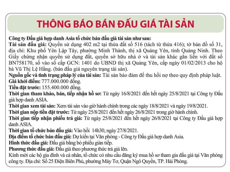 Ngày 27/8/2021, đấu giá quyền sử dụng 402 m2 đất tại thị xã Quảng Yên, tỉnh Quảng Ninh ảnh 1