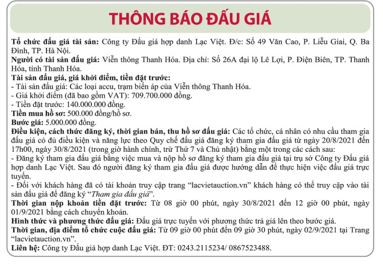 Ngày 2/9/2021, đấu giá các loại accu, trạm biến áp tại tỉnh Thanh Hóa ảnh 1
