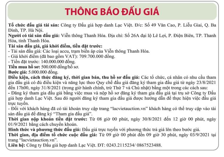 Ngày 3/9/2021, đấu giá các loại accu, trạm biến áp tại tỉnh Thanh Hóa ảnh 1
