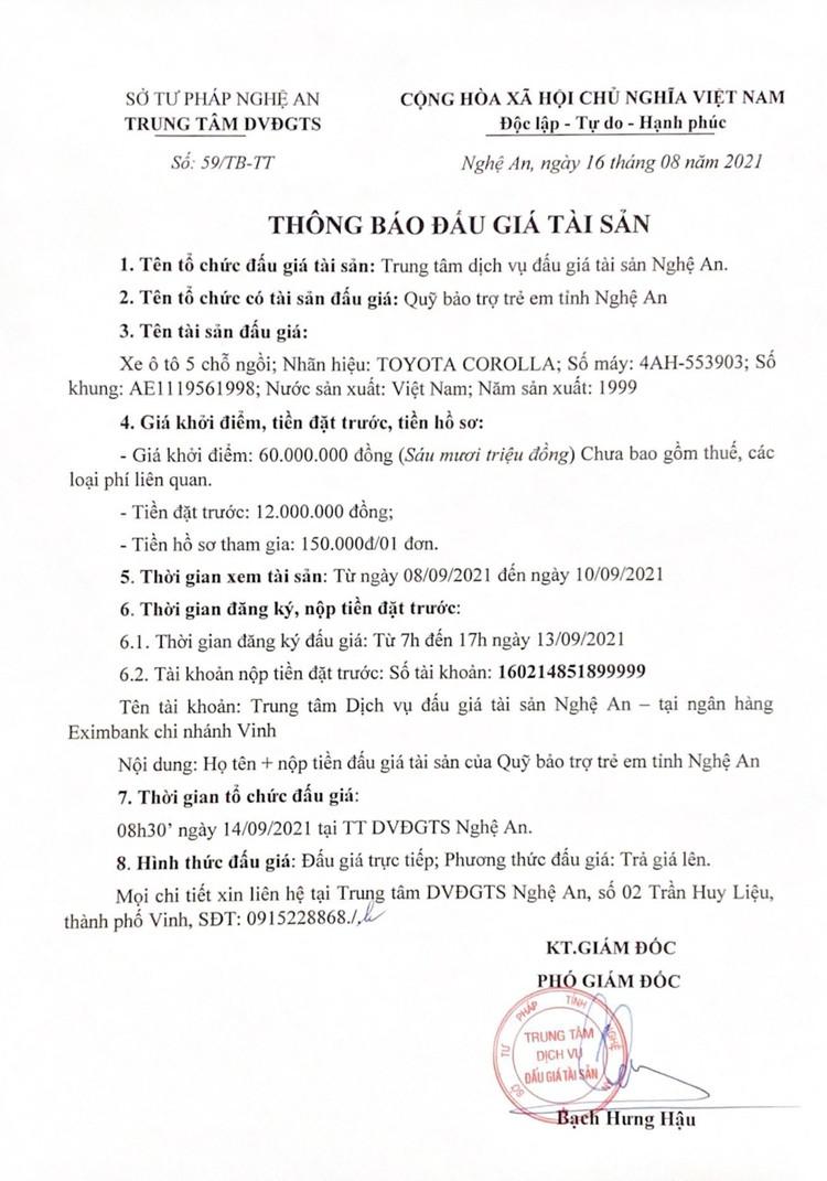 Ngày 14/9/2021, đấu giá xe ô tô Mitsubishi tại tỉnh Nghệ An ảnh 3
