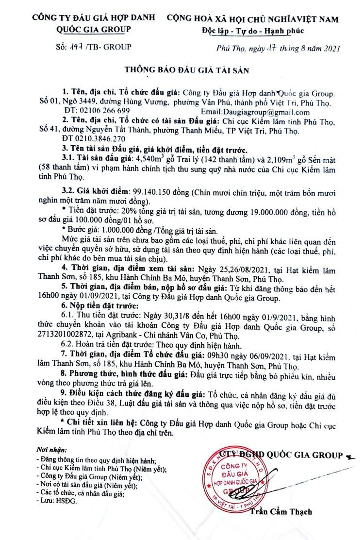 Ngày 6/9/2021, đấu giá 4,540m3 gỗ Trai lý và 2,109m3 gỗ Sến mật tại tỉnh Phú Thọ ảnh 2