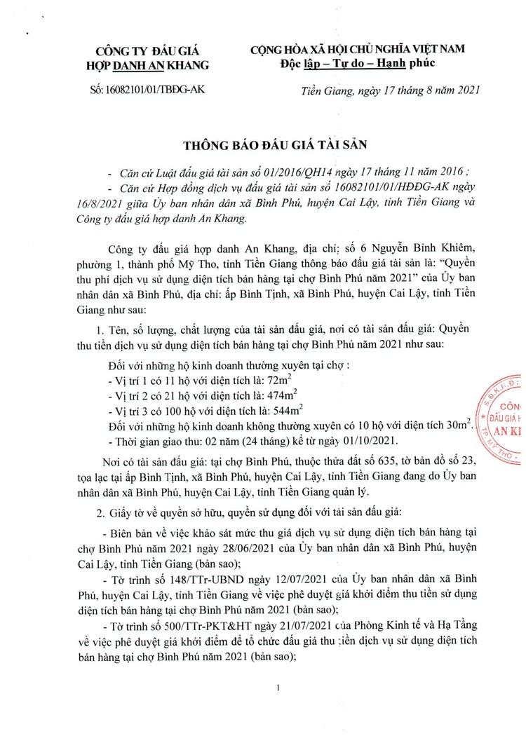 Ngày 16/9/2021, đấu giá quyền thu tiền dịch vụ sử dụng diện tích bán hàng tại chợ Bình Phú, tỉnh Tiền Giang ảnh 2
