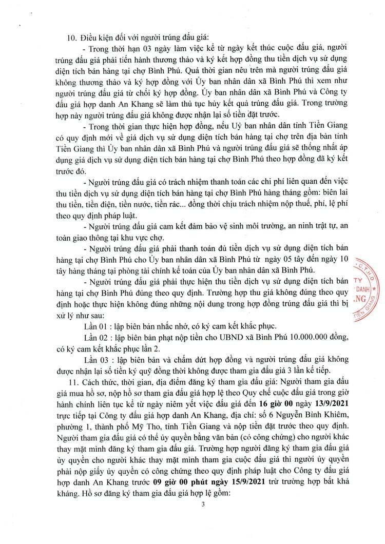 Ngày 16/9/2021, đấu giá quyền thu tiền dịch vụ sử dụng diện tích bán hàng tại chợ Bình Phú, tỉnh Tiền Giang ảnh 4