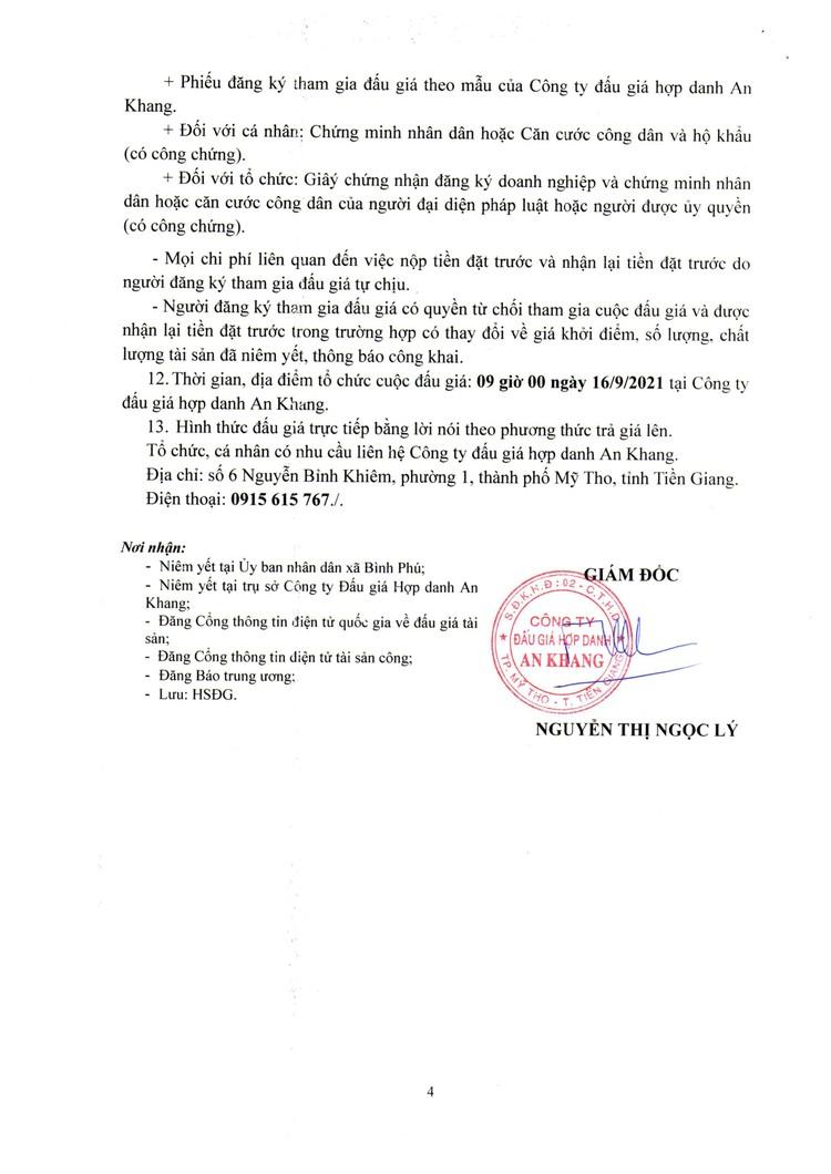 Ngày 16/9/2021, đấu giá quyền thu tiền dịch vụ sử dụng diện tích bán hàng tại chợ Bình Phú, tỉnh Tiền Giang ảnh 5