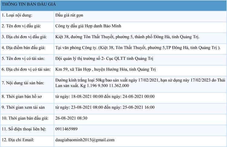 Ngày 26/8/2021, đấu giá đường kính trắng tại tỉnh Quảng Trị ảnh 1