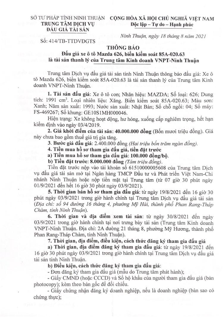 Ngày 6/9/2021, đấu giá xe ô tô MAZDA 626 tại tỉnh Ninh Thuận ảnh 2