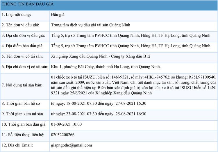 Ngày 1/9/2021, đấu giá xe ô tô ISUZU tại tỉnh Quảng Ninh ảnh 1