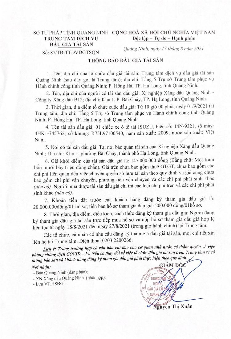 Ngày 1/9/2021, đấu giá xe ô tô ISUZU tại tỉnh Quảng Ninh ảnh 2