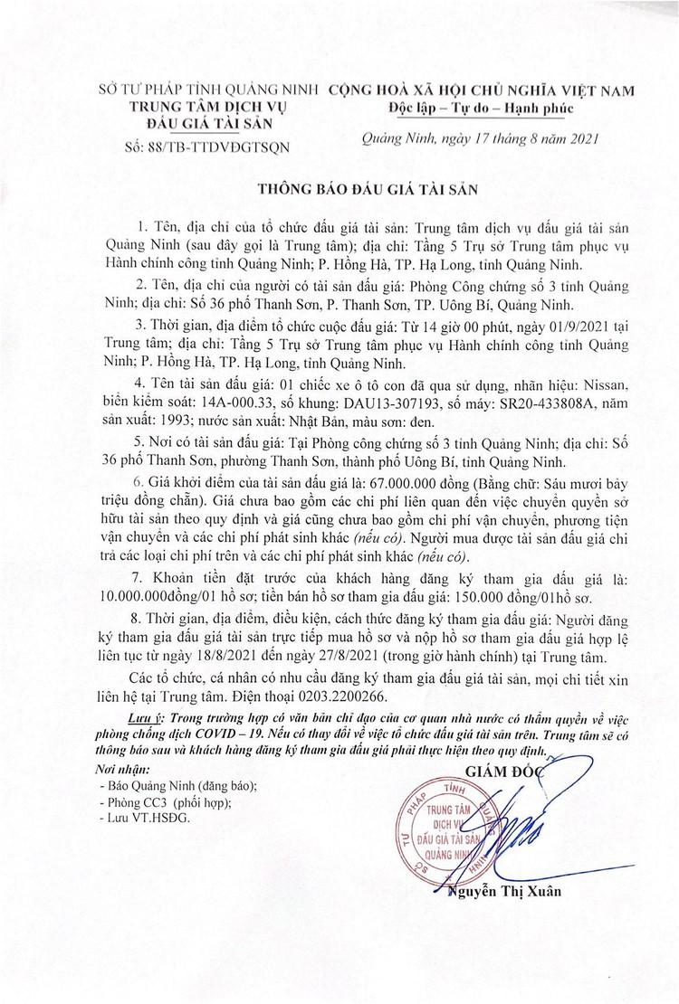 Ngày 1/9/2021, đấu giá xe ô tô Nissan tại tỉnh Quảng Ninh ảnh 2