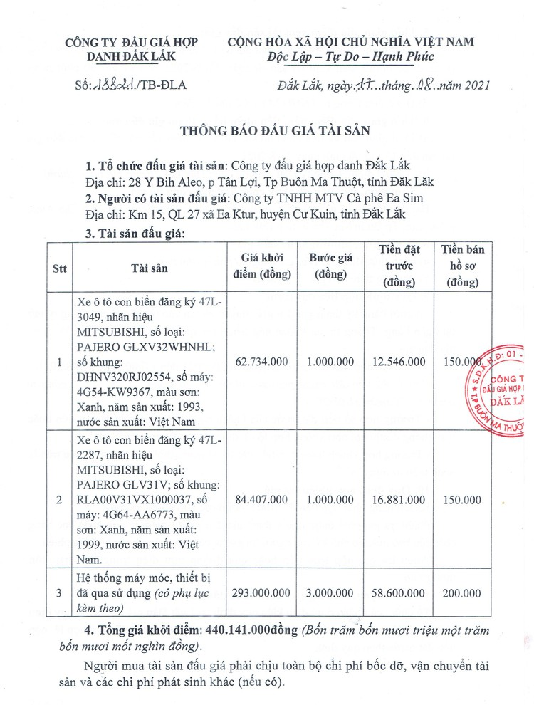 Ngày 3/9/2021, đấu giá 2 xe ô tô và máy móc thiết bị tại tỉnh Đắk Lắk ảnh 2
