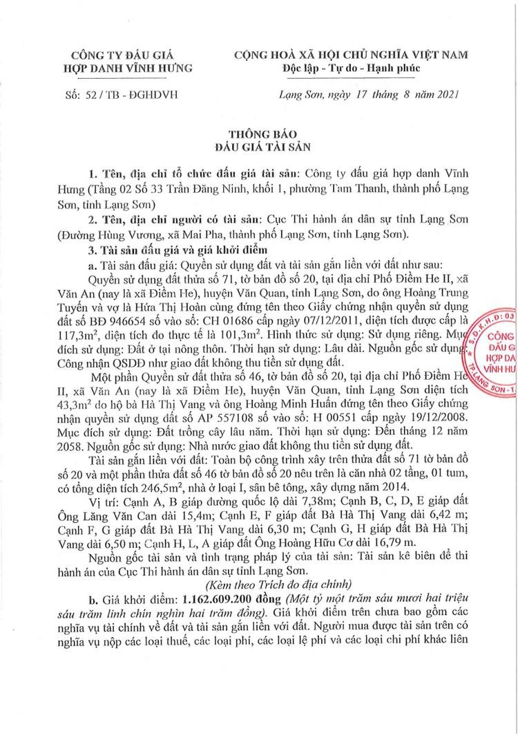 Ngày 10/9/2021, đấu giá quyền sử dụng đất tại huyện Văn Quan, tỉnh Lạng Sơn ảnh 2