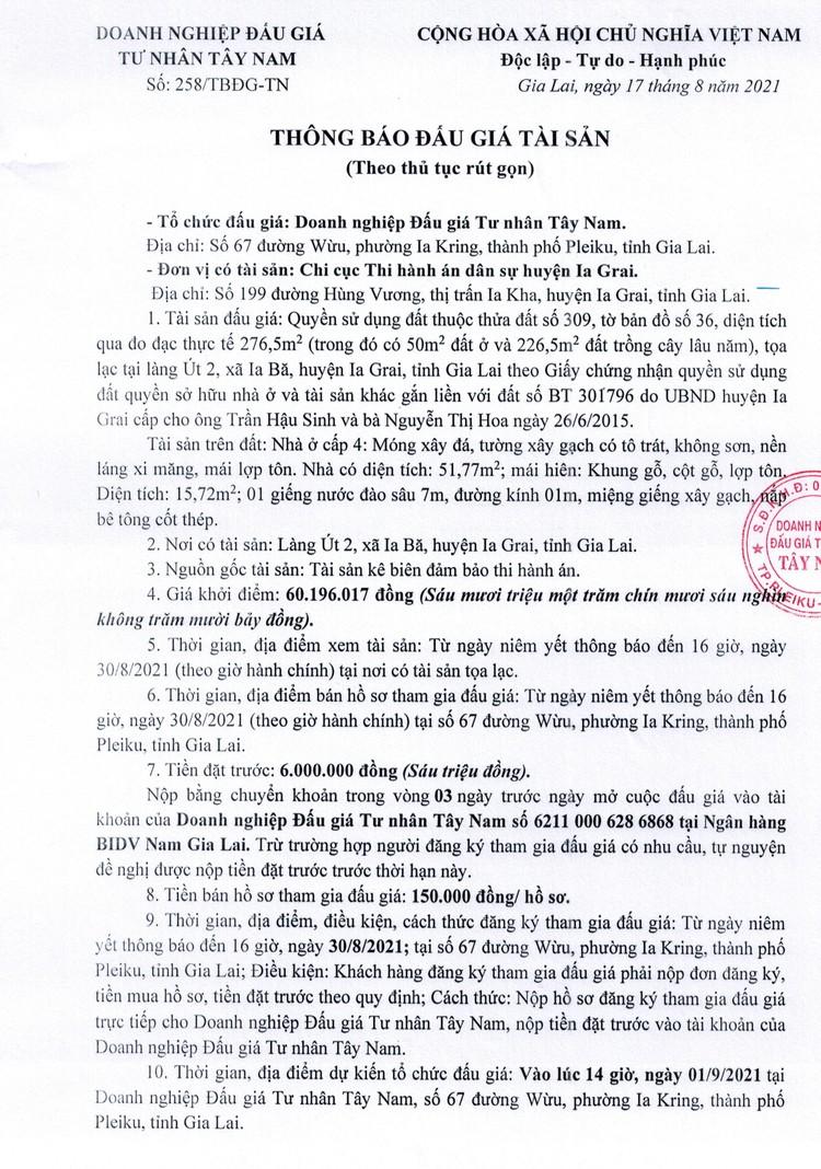 Ngày 1/9/2021, đấu giá quyền sử dụng đất tại huyện Ia Grai, tỉnh Gia Lai ảnh 2