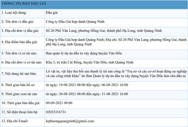 Ngày 9/9/2021, đấu giá lô vật tư, vật liệu thu hồi sau thanh lý tại tỉnh Quảng Ninh ảnh 1
