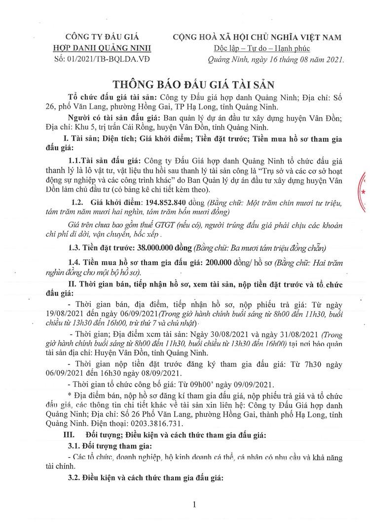 Ngày 9/9/2021, đấu giá lô vật tư, vật liệu thu hồi sau thanh lý tại tỉnh Quảng Ninh ảnh 2