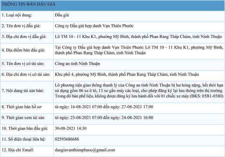 Ngày 30/8/2021, đấu giá lô phương tiện giao thông thanh lý tại tỉnh Ninh Thuận ảnh 1