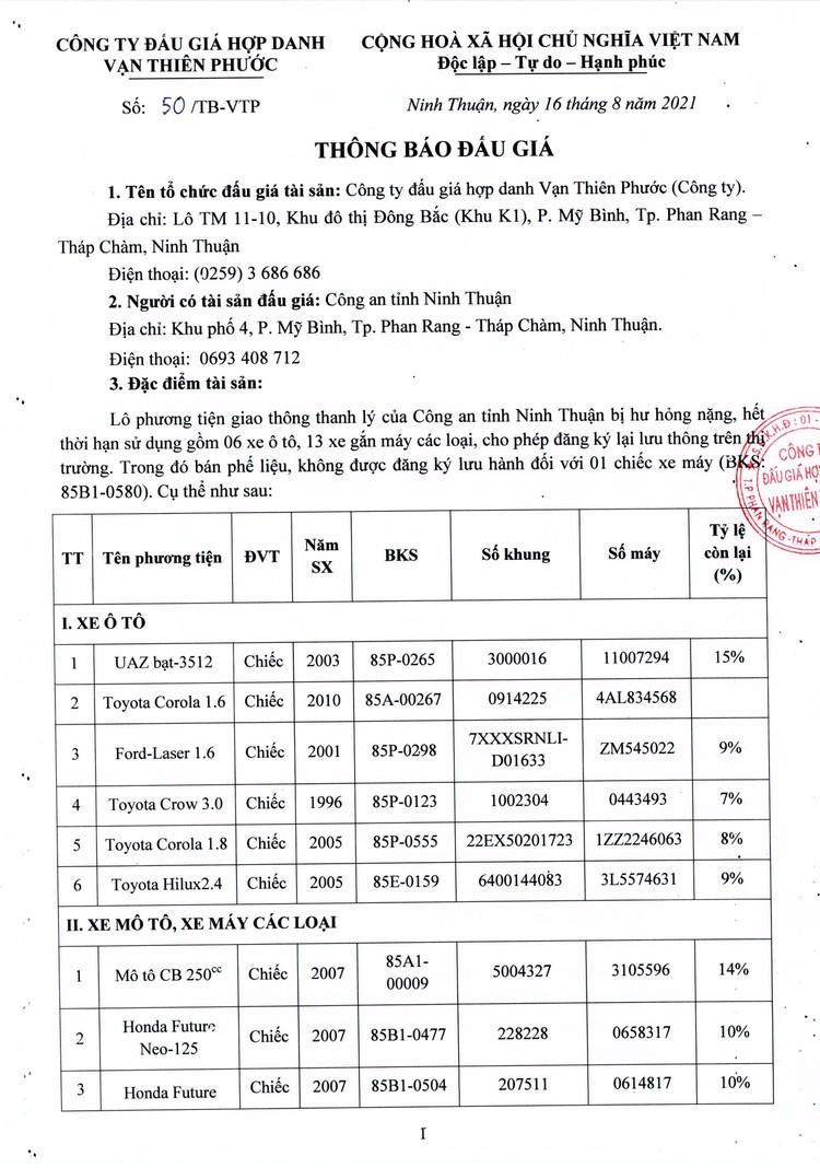 Ngày 30/8/2021, đấu giá lô phương tiện giao thông thanh lý tại tỉnh Ninh Thuận ảnh 2